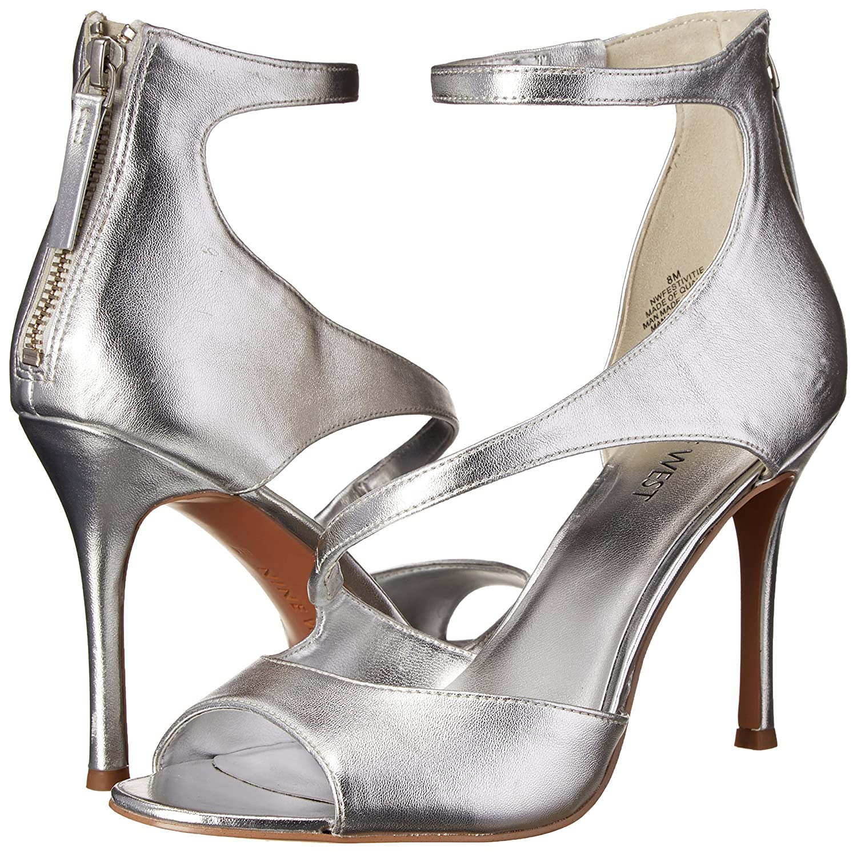 0909b5a887 Amazon.com | Nine West Women's Festivitie Heeled Sandal, Silver, 10 M US | Heeled  Sandals