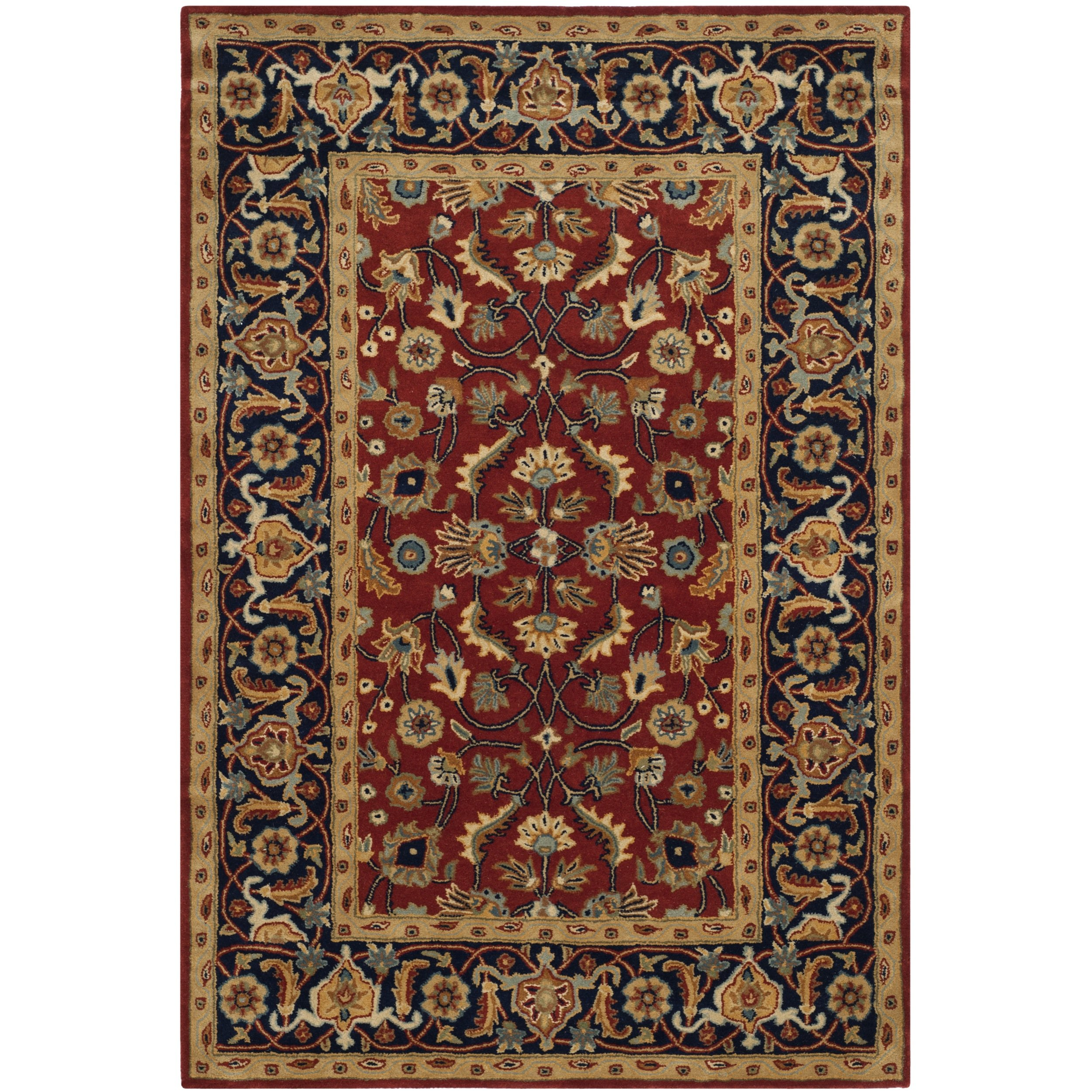 Safavieh Royalty Collection ROY256A Handmade Traditional Rust and Navy Wool Area Rug (6' x 9') by Safavieh
