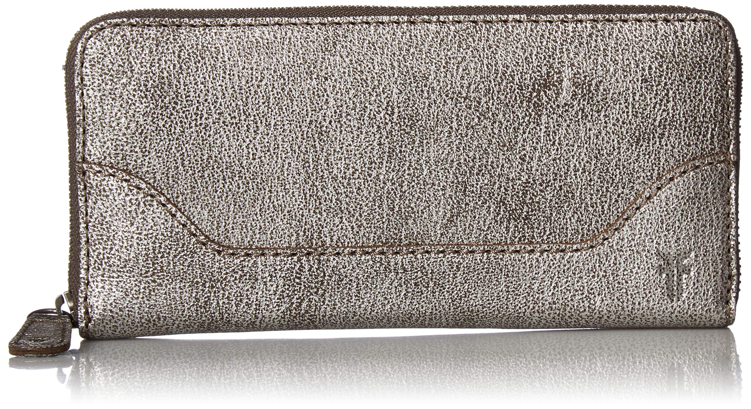 FRYE Melissa Zip Around Leather Wallet, silver