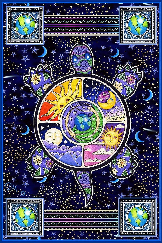 Turtle,Terrapin, Hippie Tapestry by Artist Dan Morris
