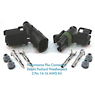Delphi Packard Weatherpack 2 Pin Terminal Kit 16-14 AWG: Automotive