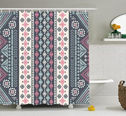 Ambesonne Tribal Decor Shower Curtain By Mexican Vintage Ethnic Pattern Handmade Design Illustration Print