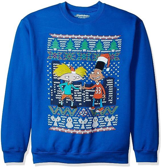 nickelodeon mens hey arnold ugly christmas sweatshirt at amazon mens clothing store - Hey Arnold Christmas
