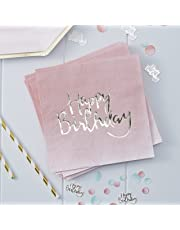 Ginger Ray Gold Foiled Pink Ombre Happy Birthday Party Paper Napkins X 20 - Pick And Mix