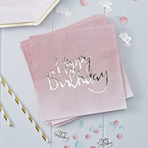 Ginger Ray Pink Ombre Happy Birthday Party Paper Napkins, 1, 16 Pack