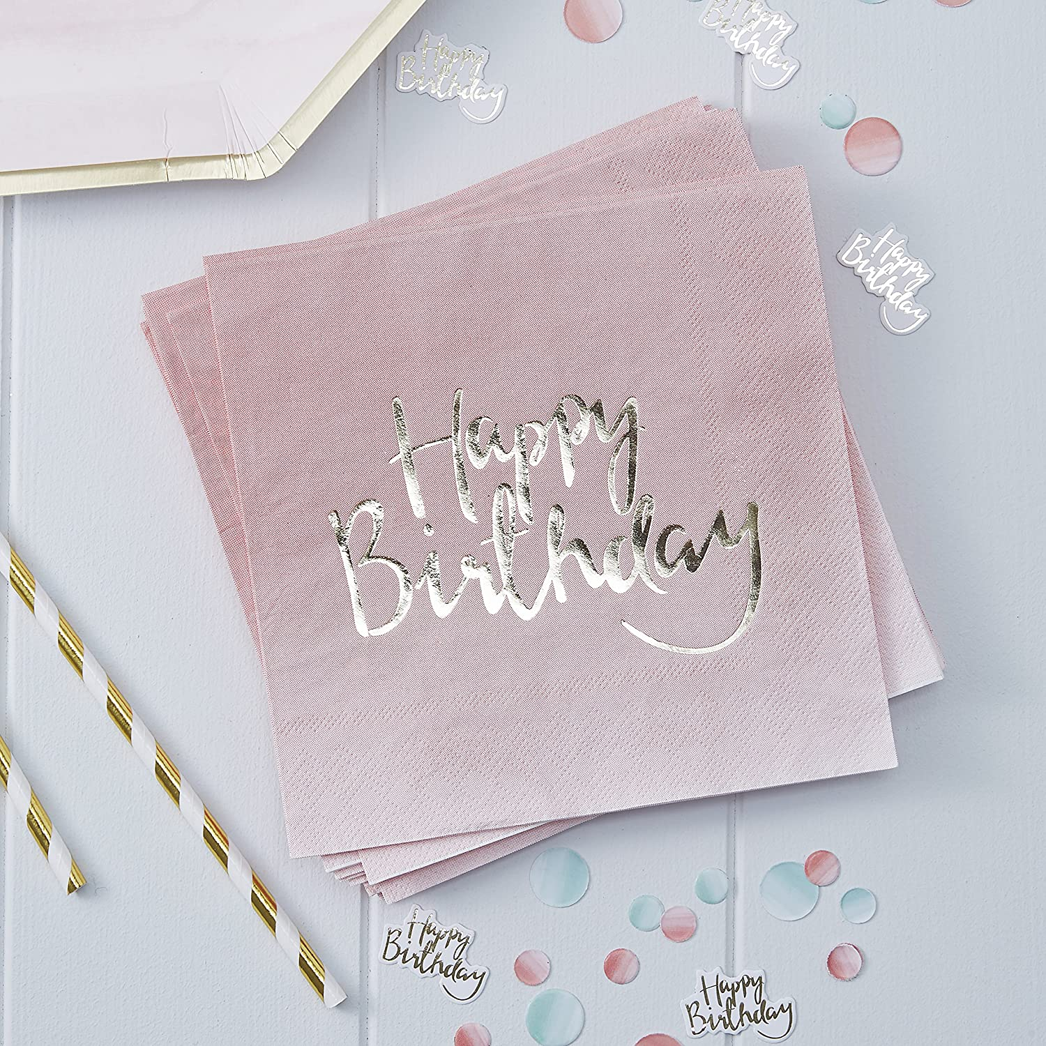 Ginger Ray Gold Foiled Pink Ombre Happy Birthday Party Paper Napkins X 20 - Pick And Mix PM-908