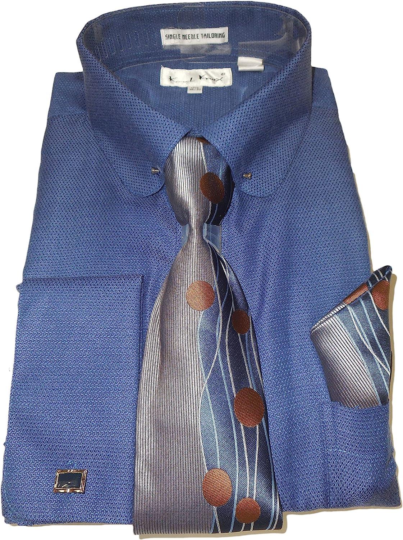 Karl Knox SX4412 - Camisa de Vestir para Hombre, Cuello Redondo con Ojales, Color Azul Marino - Azul Marino - Medium 15.5 Collar 34/35 Manga: Amazon.es: Ropa y accesorios