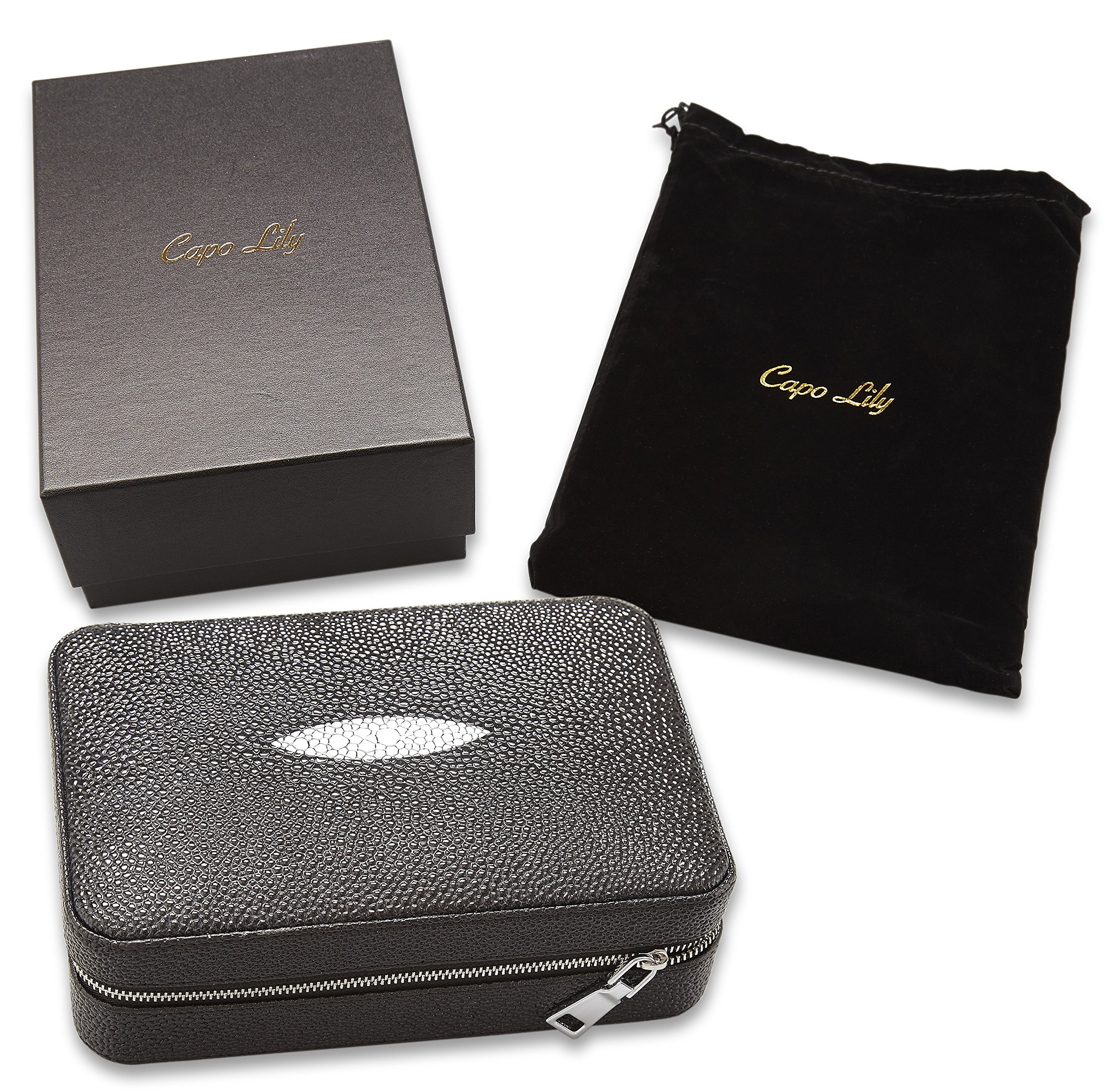 Capo Lily Cigar Humidor, Travel Portable Case with Cutter, PU Leather Wooden Box for 4 Cigars by Capo Lily (Image #3)