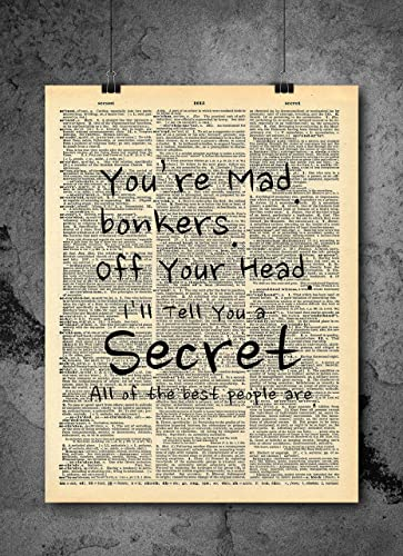 Alice in Wonderland Bonkers Vintage Art Print Wall Art Gift Antique Page Quote