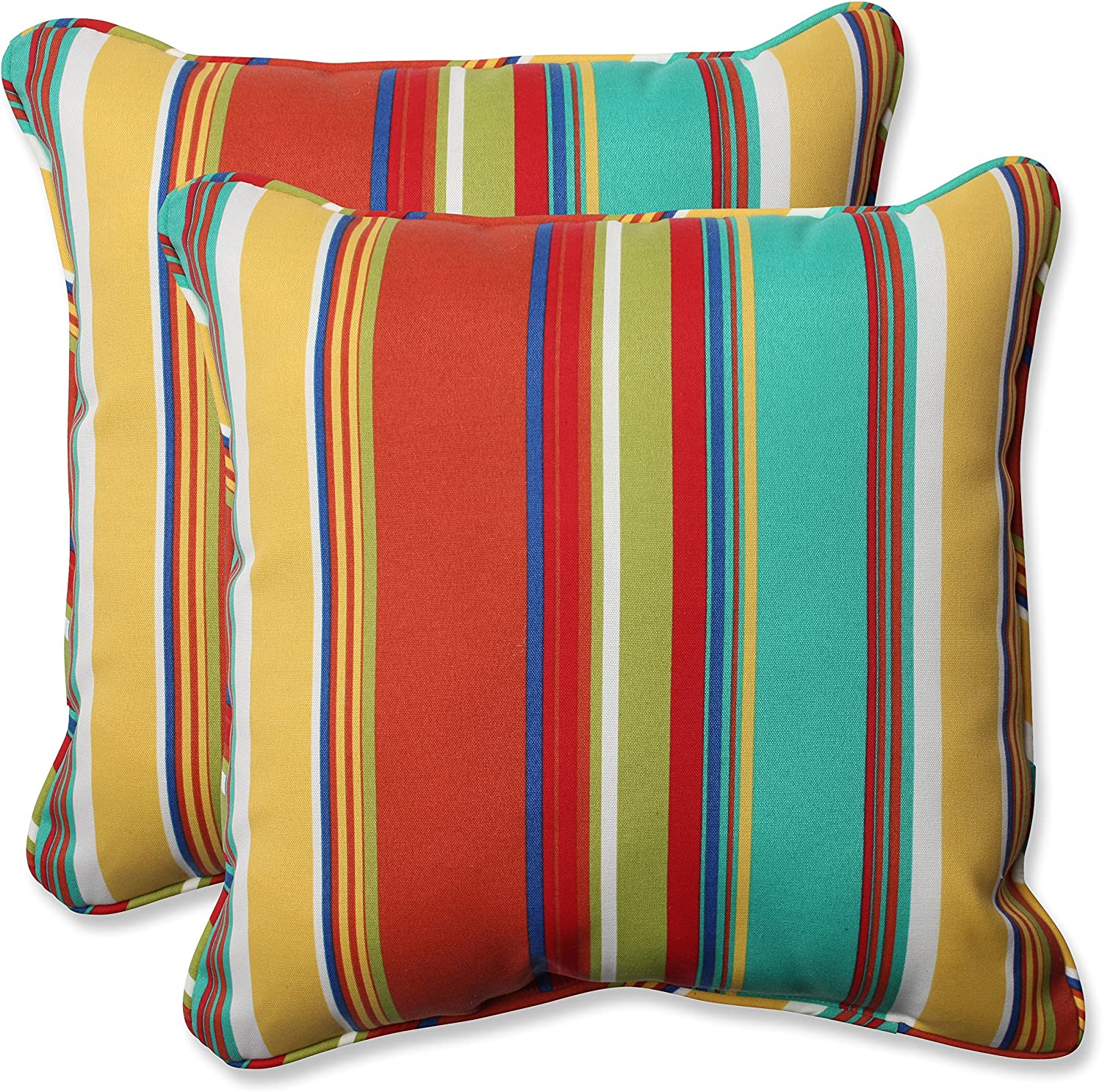 """Pillow Perfect 575353 Outdoor/Indoor Westport Spring Throw Pillows, 18.5"""" x 18.5"""", Multicolored 2 Pack"""
