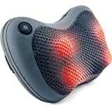 Sharper Image Shiatsu Massage Pillow with Heat, Deep Tissue muscles Kneading Back Massager, Neck Massager, Headed Shiatsu Massage, Grey (Worry-Free 12-Month Warranty Included)