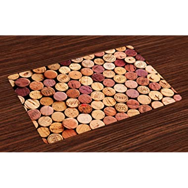 Ambesonne Wine Place Mats Set of 4, Random Selection of Used Wine Corks Vintage Quality Gourmet Taste Liquor, Washable Fabric Placemats for Dining Room Kitchen Table Decor, Mustard Mauve