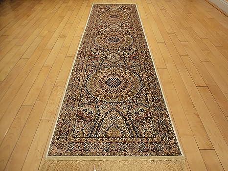 rug on carpet in hallway.  Hallway Silk Persian Qum Design Area Rug 2x8 Beige Ivory Carpet Hallway Runner  2x7 Rugs Throughout On In R