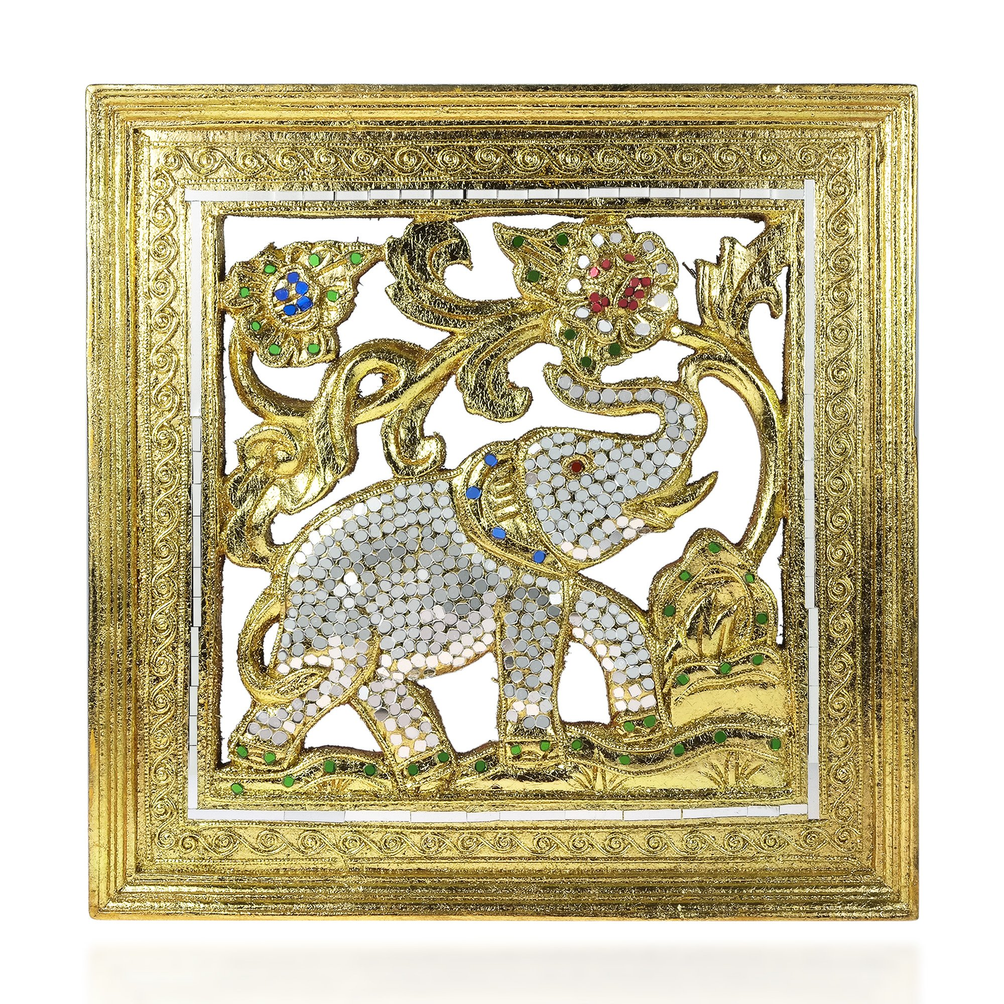 Elephant Jubilee Gilded 24k Gold-Tone Leaf Mosaic Mirror Carved Rain Tree Wood Frame - Fair Trade Handicraft by Thai Artisans