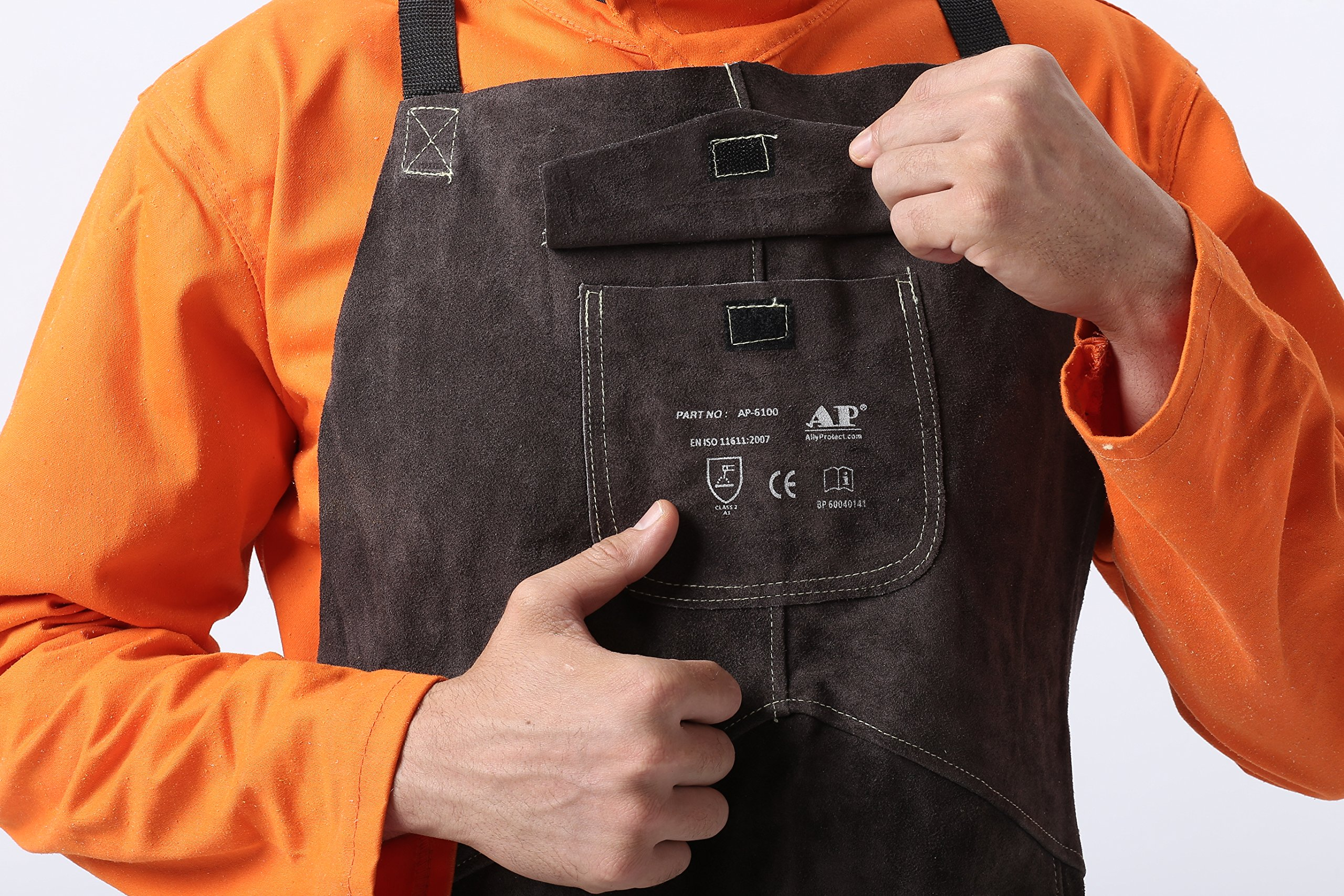 AllyProtect Length 42'' Heat/Flame Resistant Leather Welding Bib Apron with Pocket for Men/Women for Woodwork/Home Improvement/Heavy Duty Work £¨ Brown Color£ by AP ALLYPROTECT.COM (Image #4)