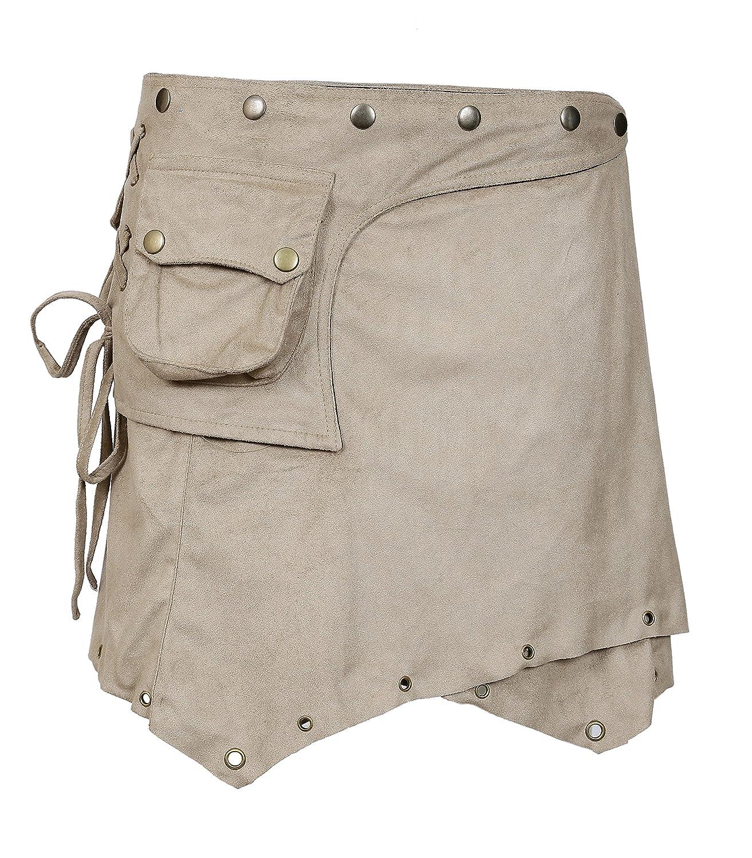 TATTOPANI Signore Suede Mini Skirt. Avvolgere intorno Style con chiusura a bottone design LMN-6062