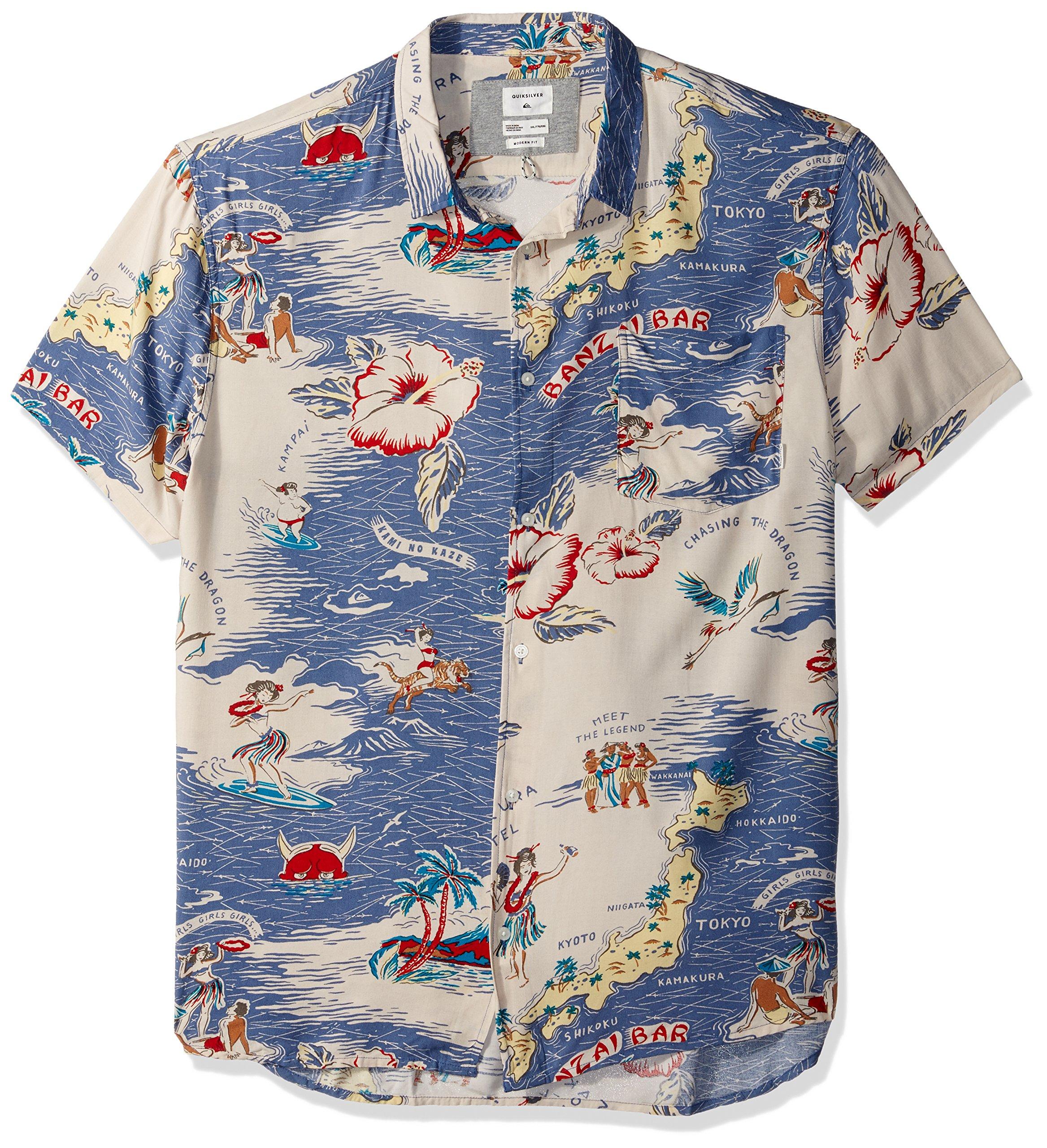 Quiksilver Men's Banzai Camp Button Down Shirt, Bijou Blue Variable Camp, XL