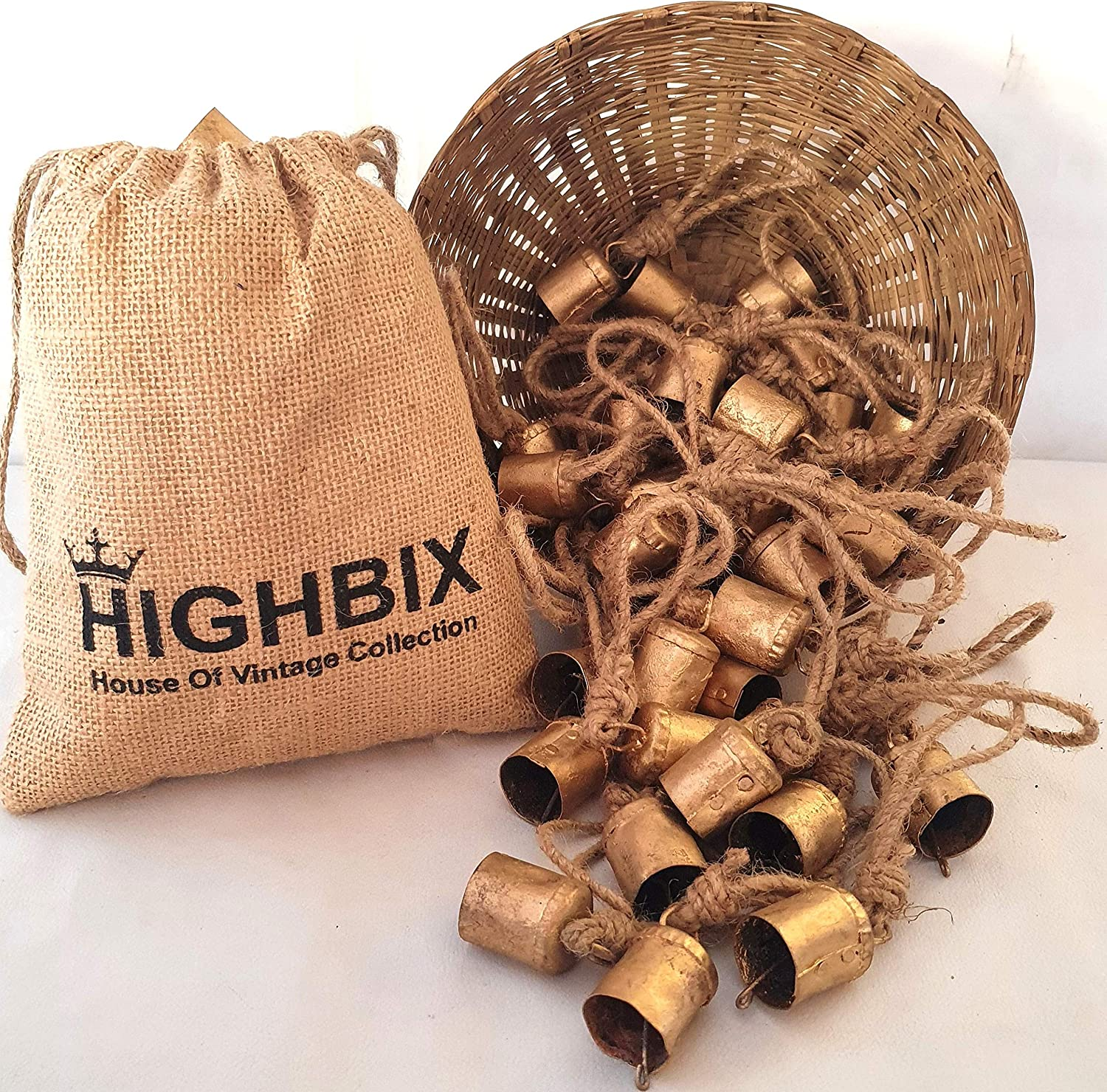 HIGHBIX 4cm Vintage Rustic Lucky Cylinder Shaped Tin Cow Bells with Jute Rope Set of 30 Handmade Christmas Décor Bells on Rope with Jute Bag