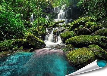 XXL Poster Wasserfall Im Wald Green Forest Natur HD 140cm X 100cm  Hochauflösende