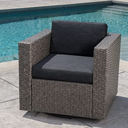 Swell Venice Outdoor Dark Brown Wicker Swivel Club Chair With Beige Water Resistant Cushions Single Mix Black Dark Grey Cjindustries Chair Design For Home Cjindustriesco