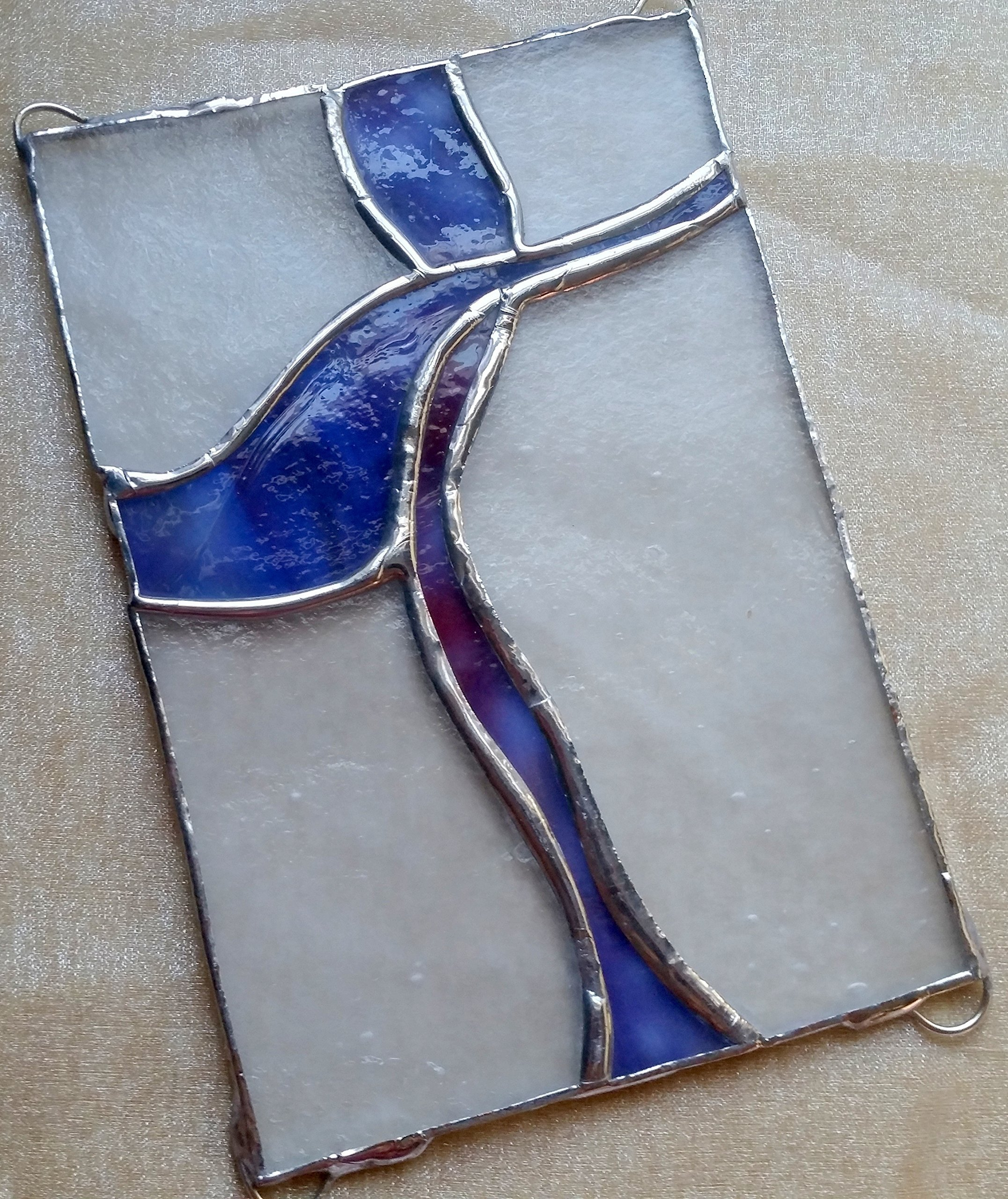 Handmade Stained Glass Abstract Art Lavendar Cross Easter Suncatcher Window Spirit Ornament