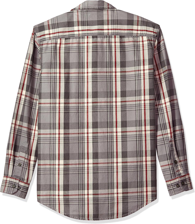 G.H Mens Mountain Twill Double Pocket Plaid Long Sleeve Shirt Bass /& Co
