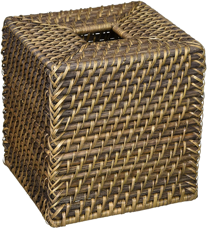 Black Antique 1030088 Kouboo Laguna Square Rattan Tissue Box Cover