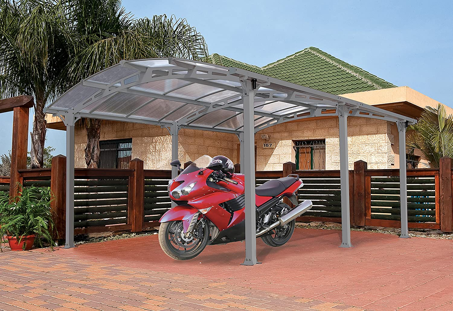 Amazon.com: Palram Arcadia 5000 Carport U0026 Patio Cover 16 X 12 X 8: Garden U0026  Outdoor