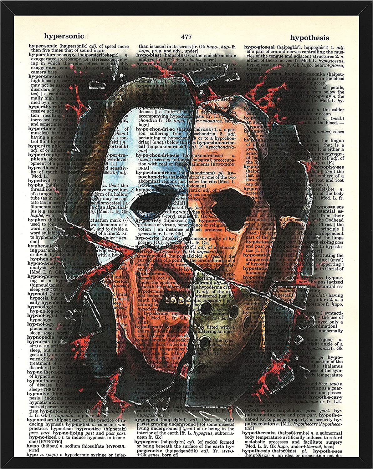 Classic Horror Movies Wall Decor Horror Movies Character Collage Featuring Michael Myers, Jason Voorhees, Freddy Krueger and Leather Face Dictionary Art Print 8 x 10