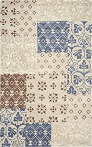 Rizzy Home Palmer Collection Wool Area Rug, 8' x 10', Multi/Khaki/Ivory/Brown/Grey Patchwork