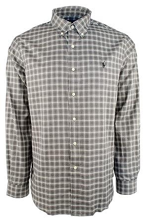 40d43995 Polo Ralph Lauren Men's Classic Fit Luxury Twill Button-Front Shirt - Grey  - M