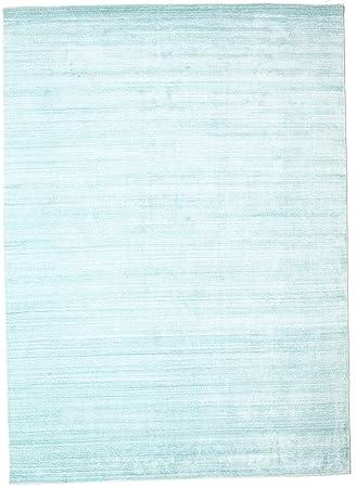 Carpetvista Bambus Seide Loom Hellblau Teppich 250x350 Moderner