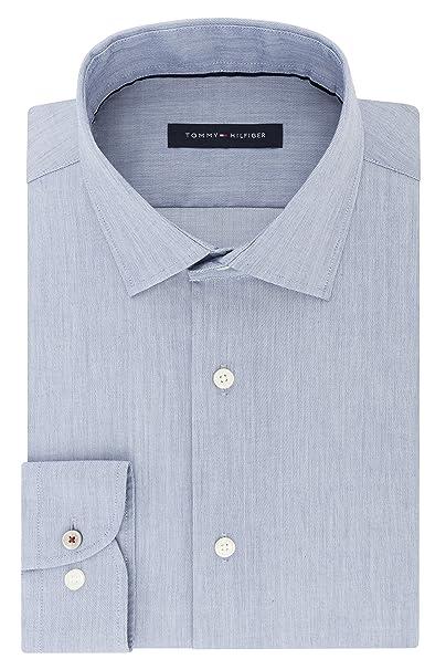 """73d01d18 Tommy Hilfiger Men's Dress Shirt Stretch Slim Fit Solid, Slate Blue,  14.5"""" Neck"""