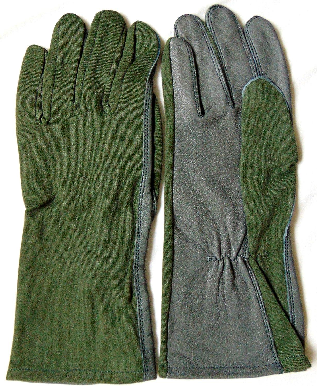 Guantes de piel de Nomex en color verde salvia y gris estilo aviador