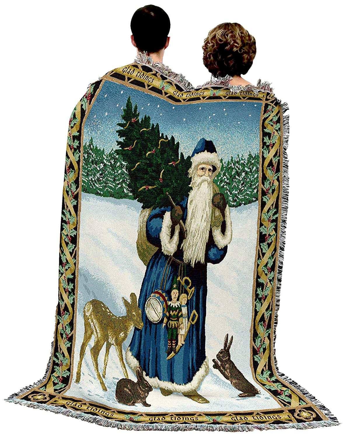 Father Christmas Blue Woven Tapestry Throw Blanket with Fringe Cotton USA 72x54 5705-T Pure Country Weavers