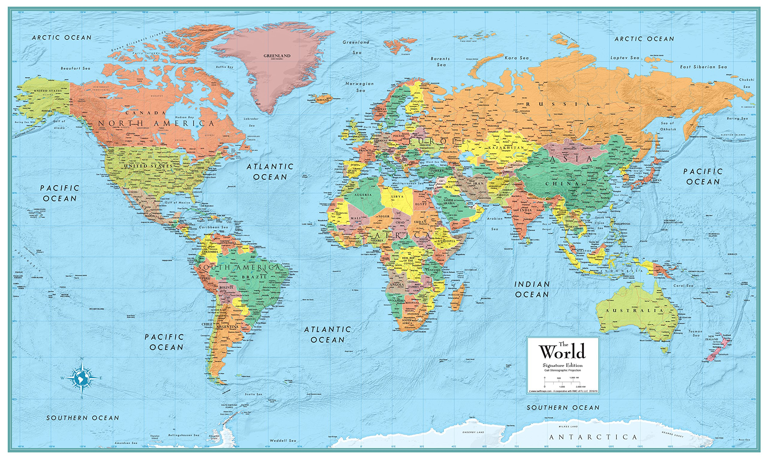 32x50 RMC World Signature Push-Pin Travel Wall Map Foam Board Mounted or Framed (Black Framed) by Swiftmaps