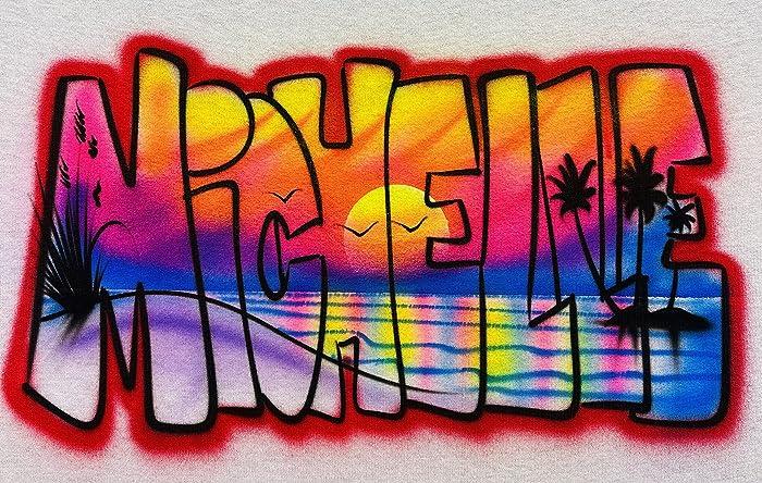 Graffiti Name with Bright Colors on Brick Wall Urban Art Airbrush T Shirt