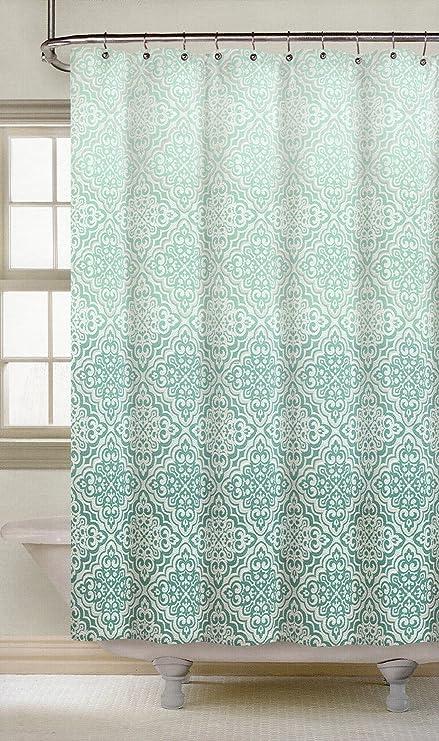 Amazon.com: Nicole Miller Fabric Shower Curtain Teal Mosaic Lace ...