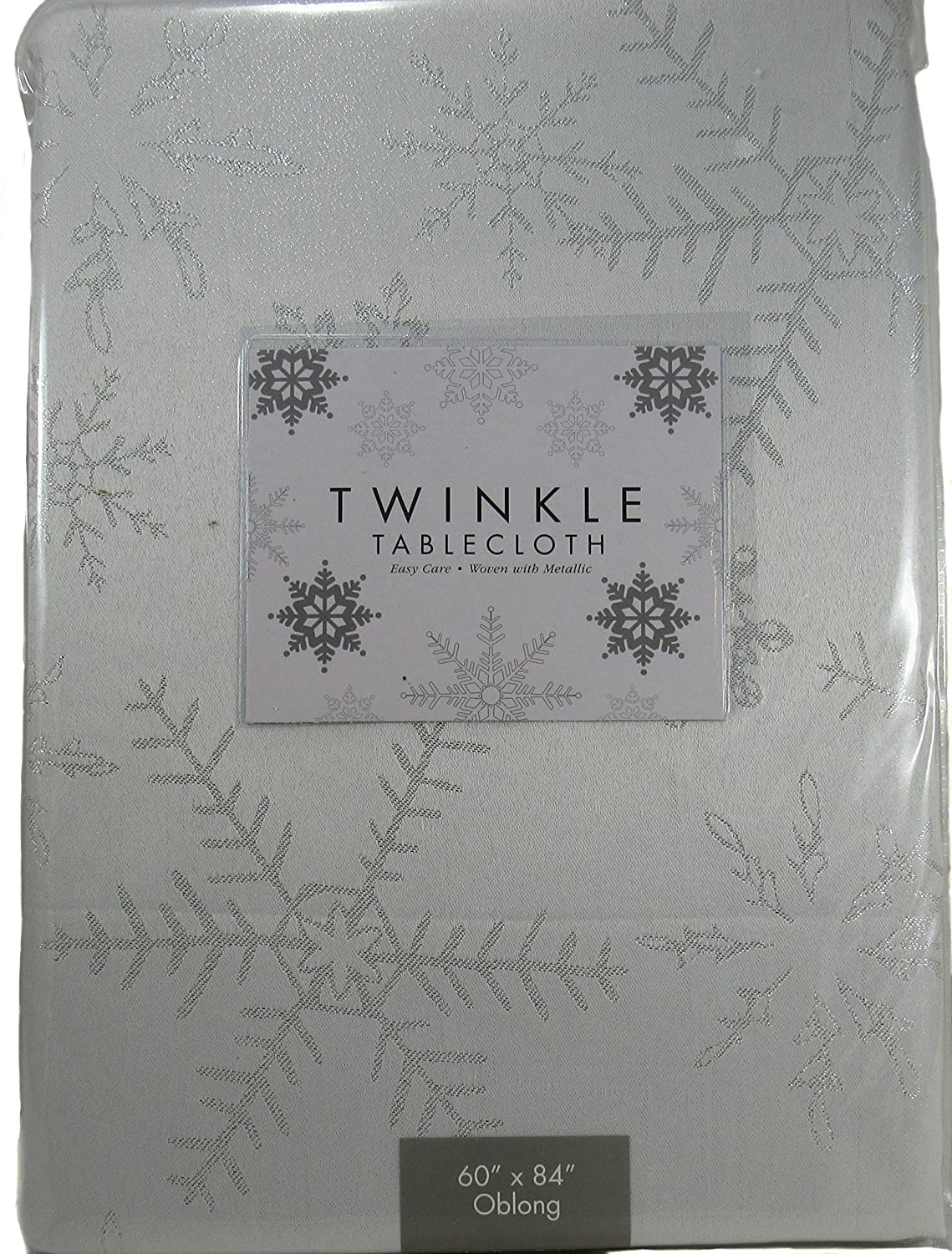 Tablecloth Twinkle Easy Care Ivory Woven with Metallic Snowflakes for Christmas or Holiday 52Wx70L