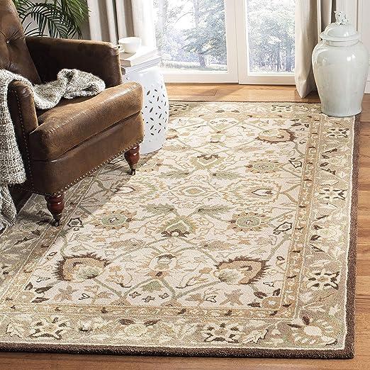 Amazon Com Safavieh Anatolia Collection An512d Handmade Traditional Oriental Premium Wool Area Rug 9 X 12 Ivory Brown Furniture Decor