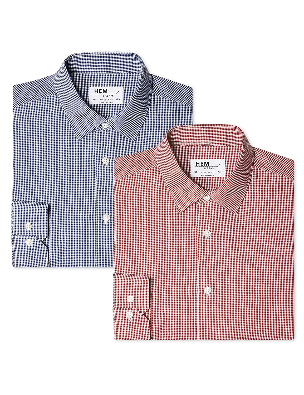 Pacco da 2 Hem /& Seam Camicia Gingham Regular Fit Uomo