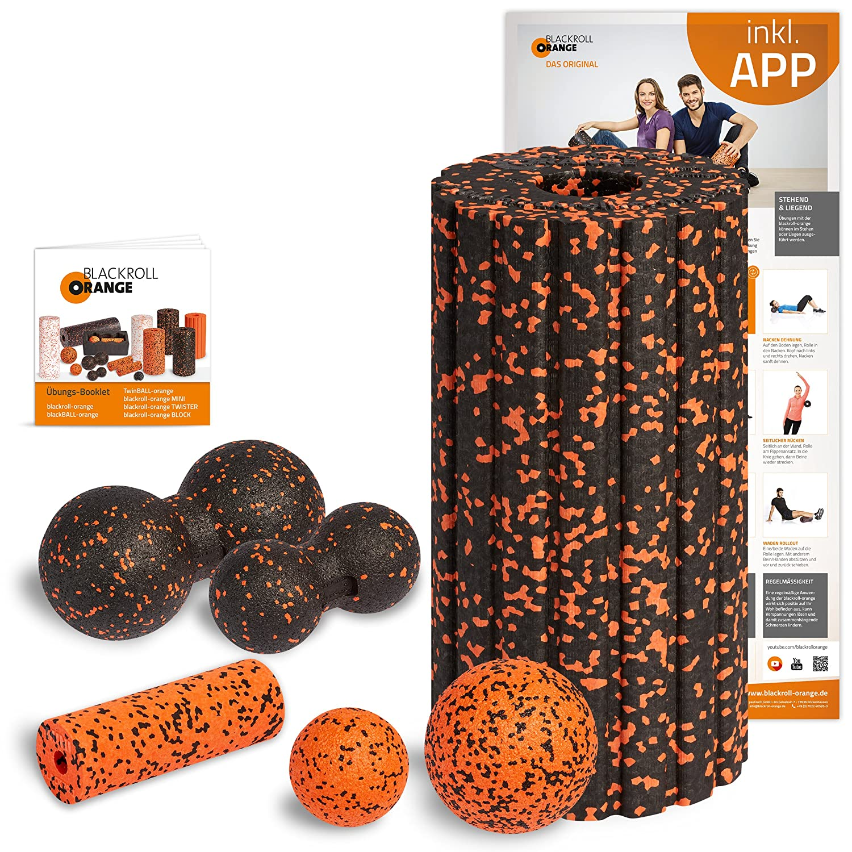 Schwarzroll Orange Faszienrolle Komplett-Set, Groove Standard mit Übungs-Poster, Booklet und App