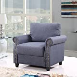 Classic Living Room Linen Armchair with Nailhead Trim and Storage Space (Blue)