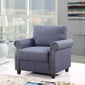 Amazon.com: Classic Living Room Linen Armchair with Nailhead Trim ...