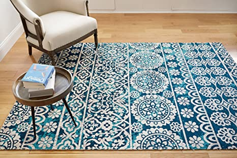 Well Woven Signora Blue Vintage Floral Tile Design Short Pile Kilim Style Modern 8x11 7 10 X 9 10 Area Rug Multicolor Pattern Home Kitchen