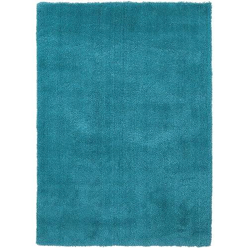 Surya Heaven HEA-8012 Shag Hand Woven 100 Polyester Deep Sky Blue 3 x 5 Area Rug