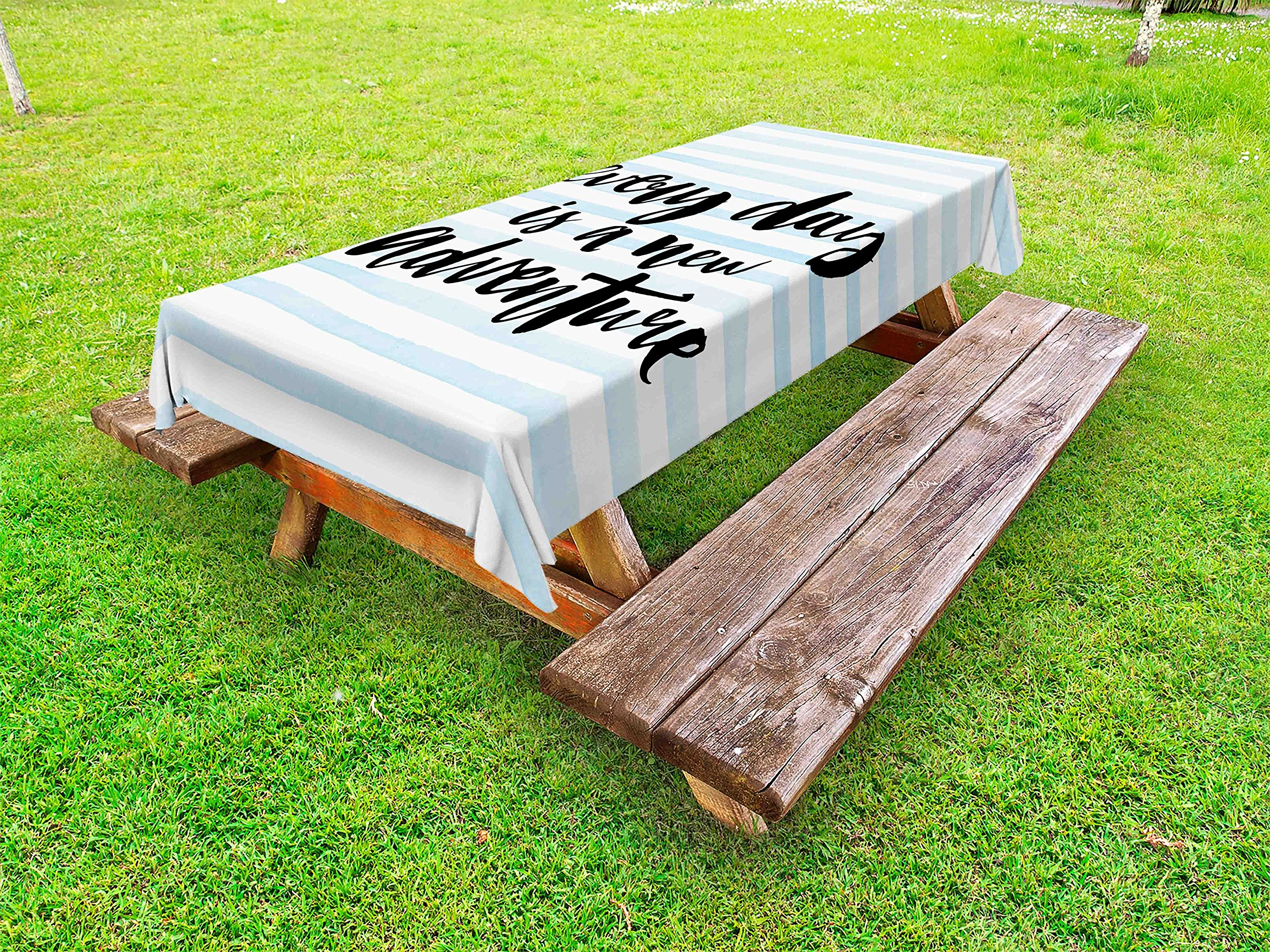 Ambesonne Inspirational Quotes Outdoor Tablecloth, Every Day is a New Adventure Calligraphy Text Watercolor Stripes Print, Decorative Washable Picnic Table Cloth, 58 X 84 inches, Pale Blue by Ambesonne