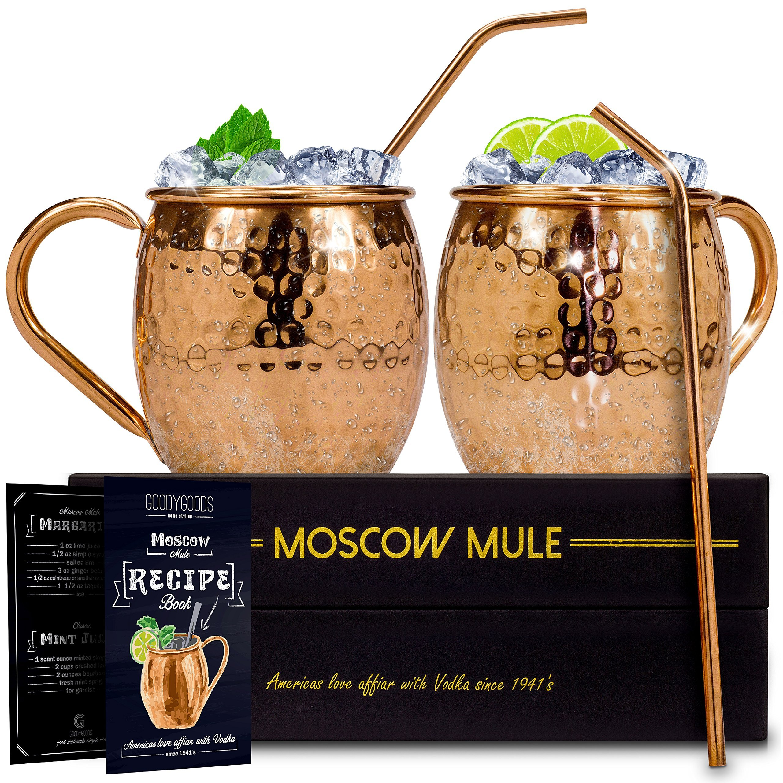 GoodyGoods Moscow Mule Copper Mugs: Make Any Drink Taste Much Better! 100% Pure Solid Copper His & Hers Gift Set- 2 Hammered 16 OZ Copper Caps 2 Unique Straws, Jigger & Recipe Booklet! (Black, 16oz) by GoodyGoods-home styling