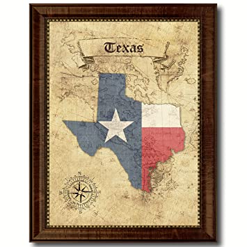 Amazon.com: Texas State Vintage Map Flag Canvas Print with Custom ...