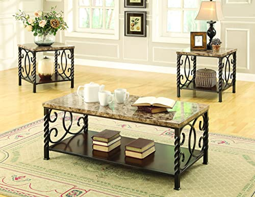 Lockhart 3-piece Occasional Set with Faux Marble Top Dark Brown
